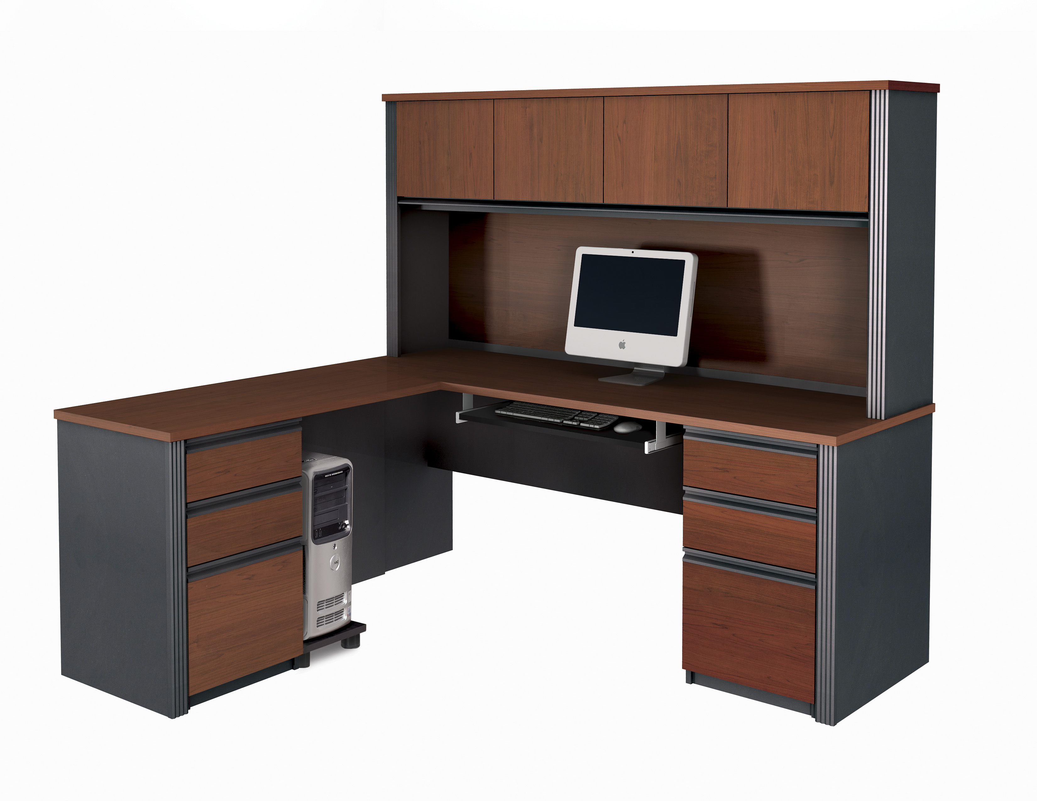 Executive Espresso Dark Brown Veneer Mixed Black Solid Wood Corner Computer Desk For Small Space Saving Ideas With Slide Out Keyboard Shelf And Equipped